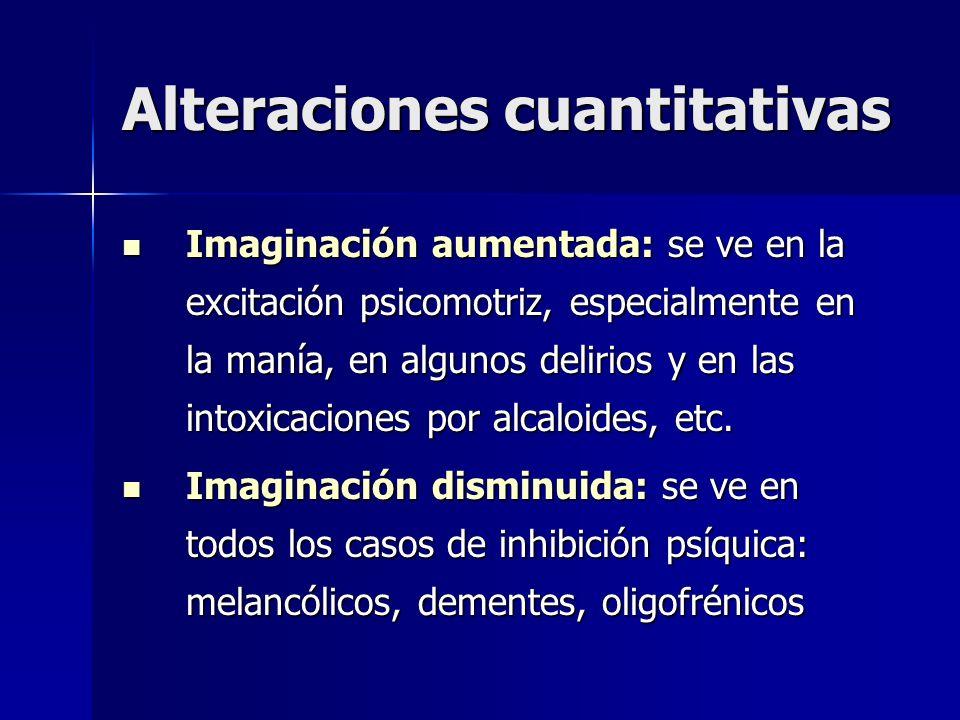Alteraciones cuantitativas Imaginación aumentada: se ve en la excitación psicomotriz, especialmente en la manía, en algunos delirios y en las intoxica