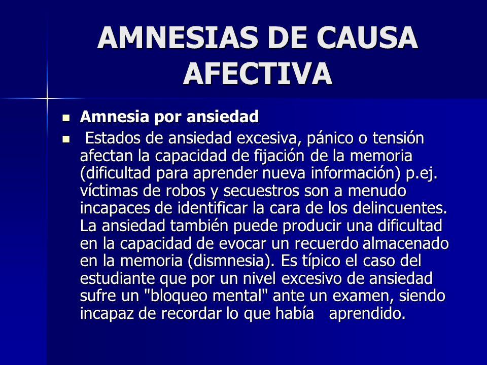 AMNESIAS DE CAUSA AFECTIVA Amnesia por ansiedad Amnesia por ansiedad Estados de ansiedad excesiva, pánico o tensión afectan la capacidad de fijación d