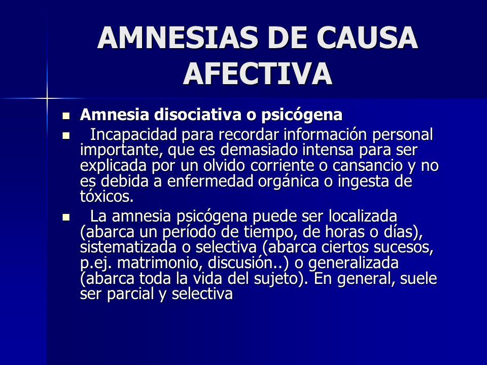 AMNESIAS DE CAUSA AFECTIVA Amnesia disociativa o psicógena Amnesia disociativa o psicógena Incapacidad para recordar información personal importante,