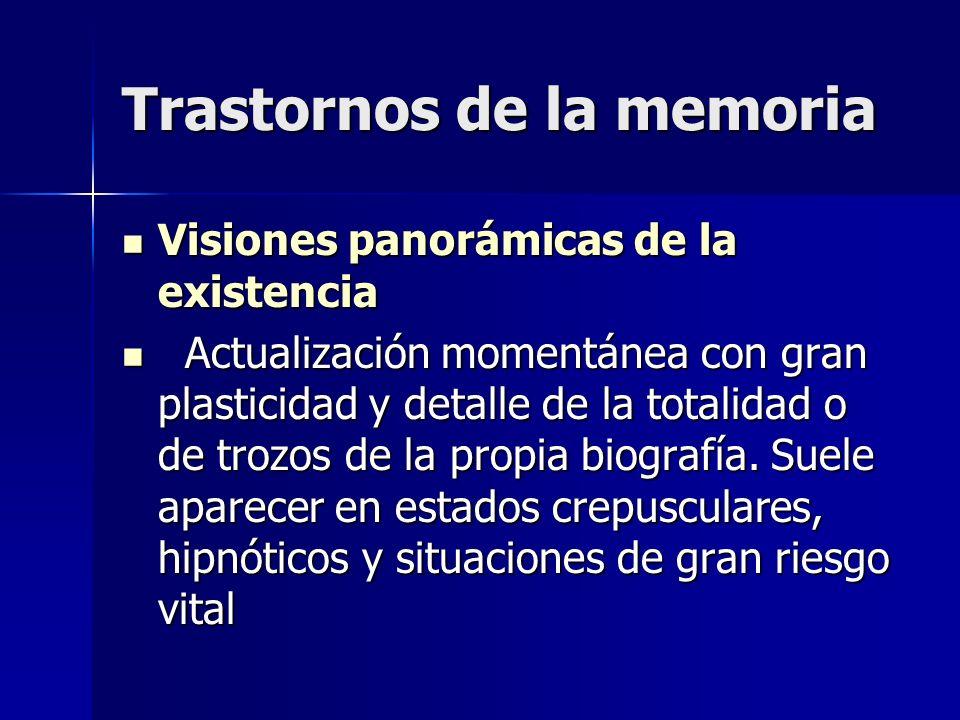 Trastornos de la memoria Visiones panorámicas de la existencia Visiones panorámicas de la existencia Actualización momentánea con gran plasticidad y d