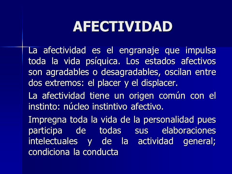 AFECTIVIDAD La afectividad es el engranaje que impulsa toda la vida psíquica. Los estados afectivos son agradables o desagradables, oscilan entre dos
