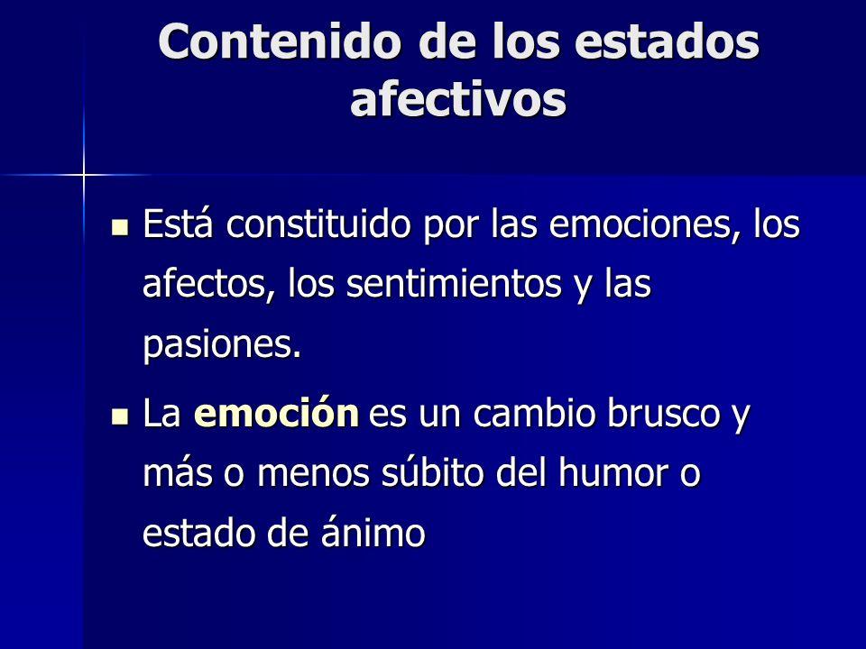 Contenido de los estados afectivos Está constituido por las emociones, los afectos, los sentimientos y las pasiones. Está constituido por las emocione