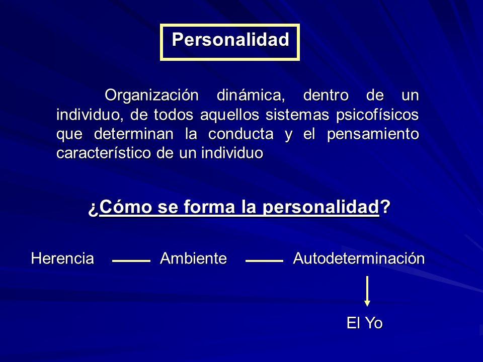 Personalidad Organización dinámica, dentro de un individuo, de todos aquellos sistemas psicofísicos que determinan la conducta y el pensamiento característico de un individuo ¿Cómo se forma la personalidad.