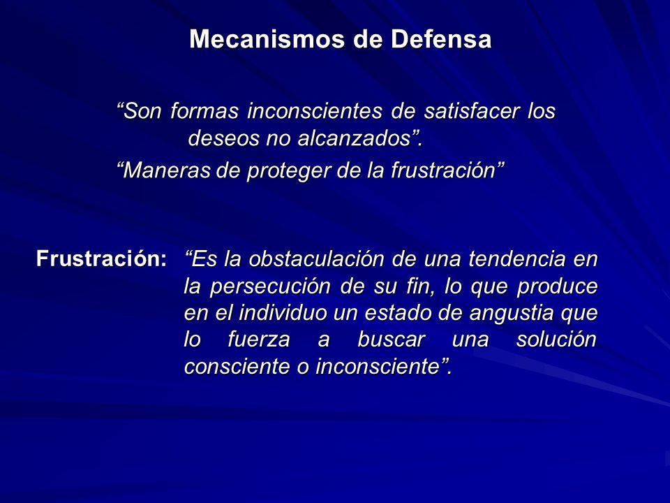 Mecanismos de Defensa Son formas inconscientes de satisfacer los deseos no alcanzados.