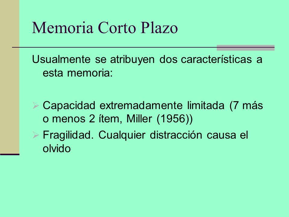 Memoria Corto Plazo Usualmente se atribuyen dos características a esta memoria: Capacidad extremadamente limitada (7 más o menos 2 ítem, Miller (1956)