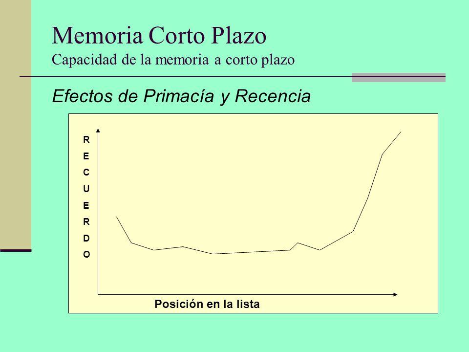 Memoria Corto Plazo Capacidad de la memoria a corto plazo Efectos de Primacía y Recencia RECUERDORECUERDO Posición en la lista