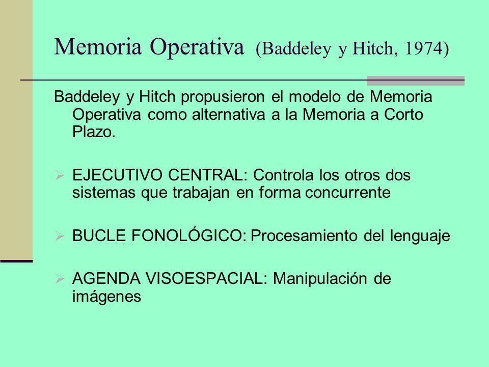 Memoria Operativa (Baddeley y Hitch, 1974) Baddeley y Hitch propusieron el modelo de Memoria Operativa como alternativa a la Memoria a Corto Plazo. EJ