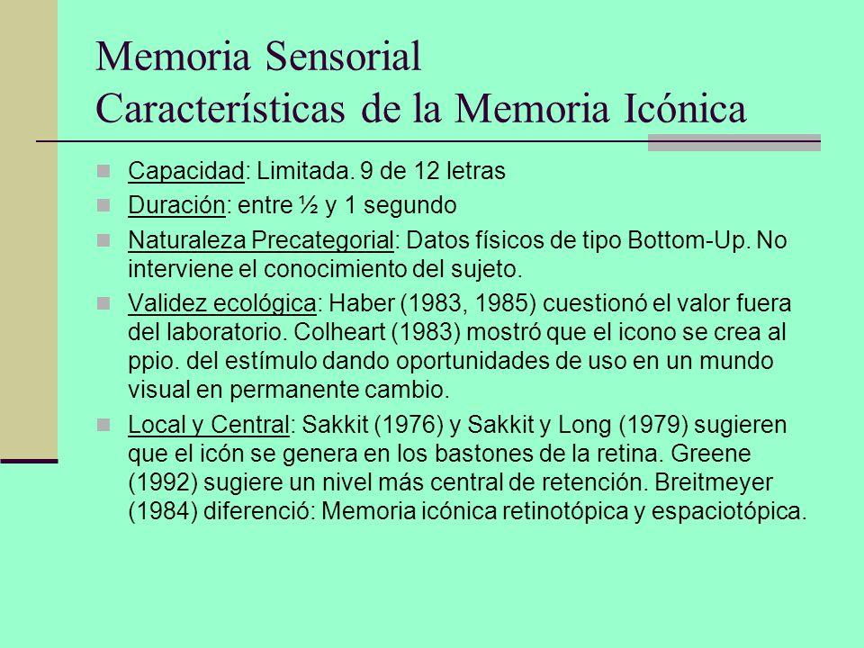Memoria Sensorial Características de la Memoria Icónica Capacidad: Limitada. 9 de 12 letras Duración: entre ½ y 1 segundo Naturaleza Precategorial: Da