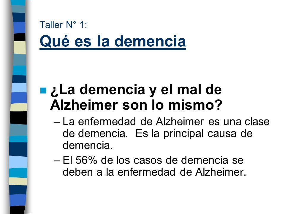Taller N° 1: Qué es la demencia n ¿La demencia y el mal de Alzheimer son lo mismo? –La enfermedad de Alzheimer es una clase de demencia. Es la princip
