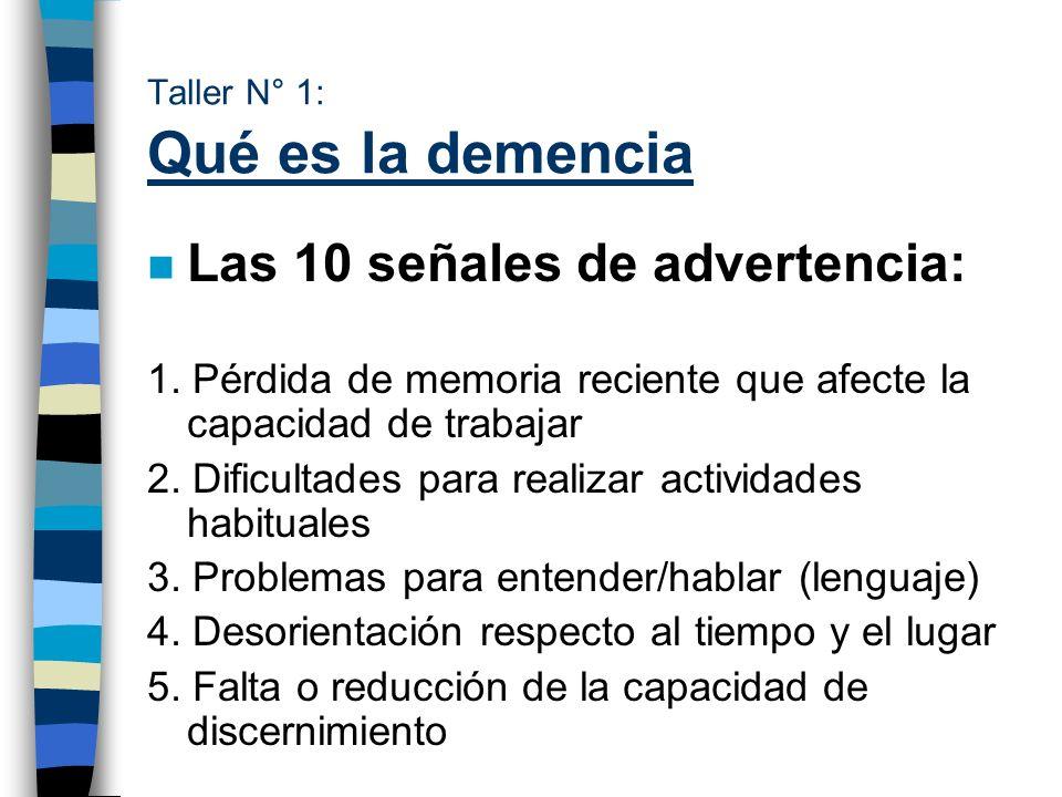 Taller N° 1: Qué es la demencia n Las 10 señales de advertencia: 1. Pérdida de memoria reciente que afecte la capacidad de trabajar 2. Dificultades pa