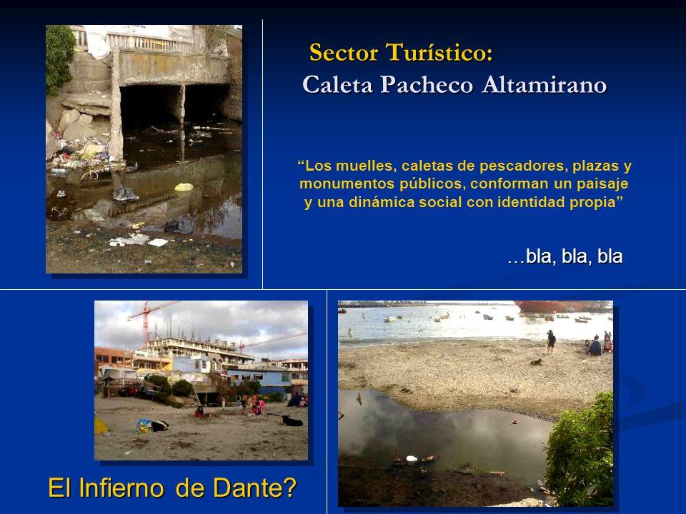 Sector Turístico: Caleta Pacheco Altamirano Los muelles, caletas de pescadores, plazas y monumentos públicos, conforman un paisaje y una dinámica social con identidad propia …bla, bla, bla El Infierno de Dante?