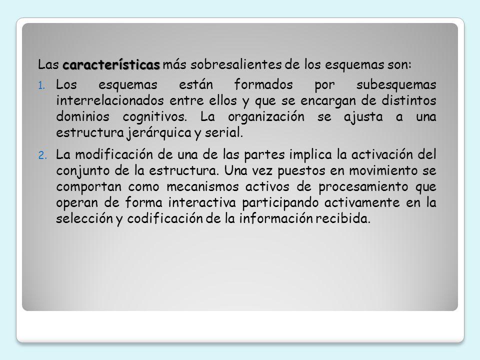 características Las características más sobresalientes de los esquemas son: 1. Los esquemas están formados por subesquemas interrelacionados entre ell