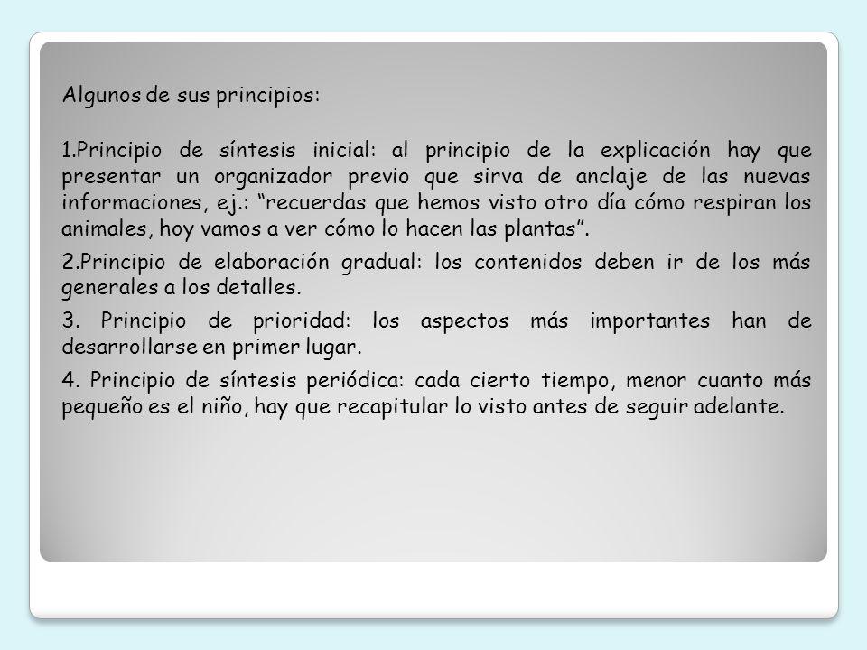 Algunos de sus principios: 1.Principio de síntesis inicial: al principio de la explicación hay que presentar un organizador previo que sirva de anclaj