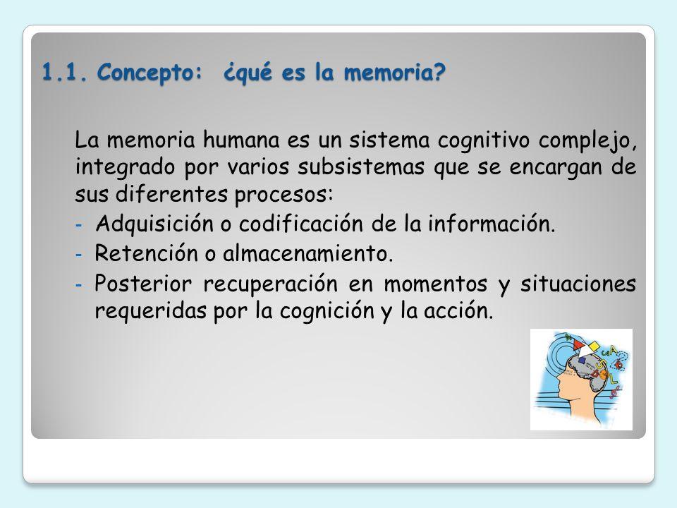 1.1. Concepto: ¿qué es la memoria? La memoria humana es un sistema cognitivo complejo, integrado por varios subsistemas que se encargan de sus diferen