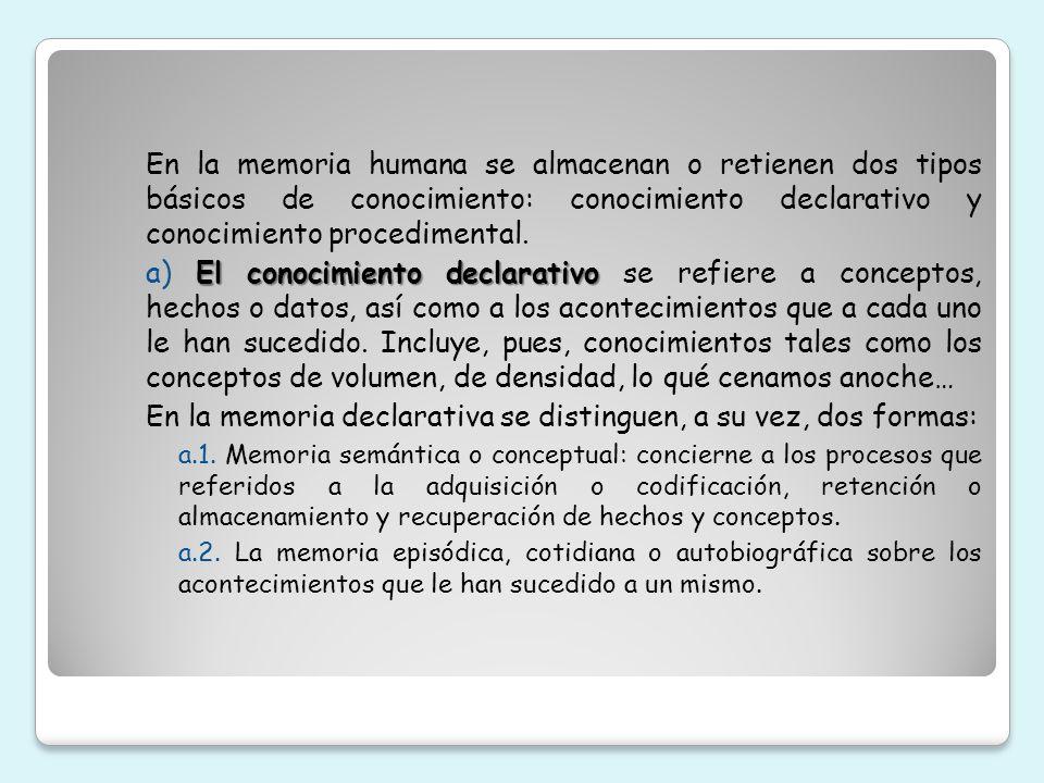 En la memoria humana se almacenan o retienen dos tipos básicos de conocimiento: conocimiento declarativo y conocimiento procedimental. El conocimiento