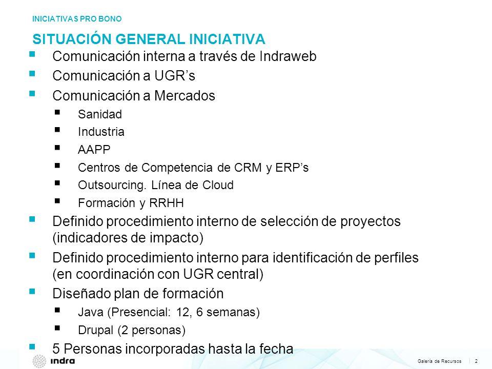 Galería de Recursos 2   SITUACIÓN GENERAL INICIATIVA INICIATIVAS PRO BONO Comunicación interna a través de Indraweb Comunicación a UGRs Comunicación a