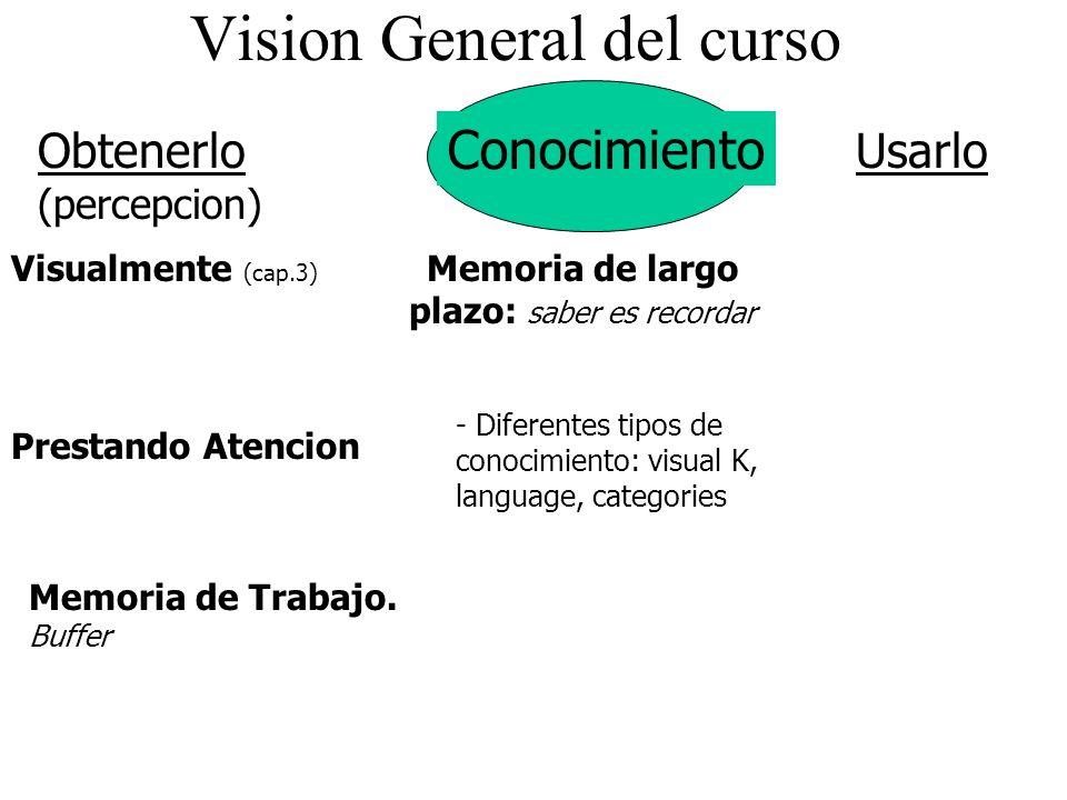 Vision General del curso Conocimiento Visualmente (cap.3) Obtenerlo (percepcion) Prestando Atencion Usarlo Memoria de Trabajo. Buffer - Diferentes tip