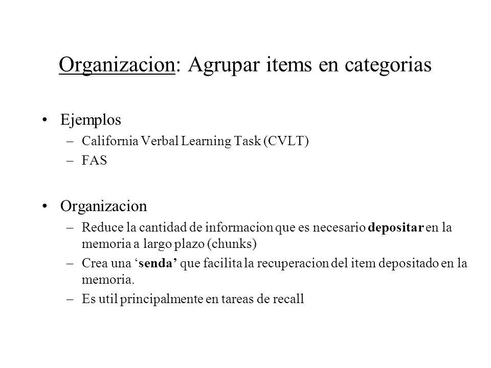 Ejemplos –California Verbal Learning Task (CVLT) –FAS Organizacion –Reduce la cantidad de informacion que es necesario depositar en la memoria a largo