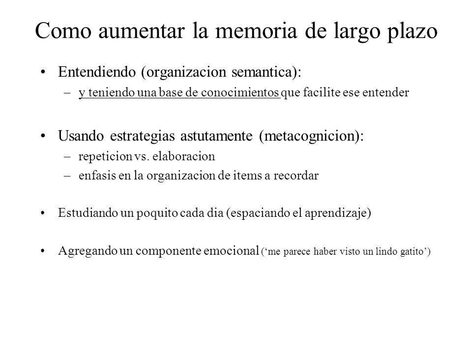 Como aumentar la memoria de largo plazo Entendiendo (organizacion semantica): –y teniendo una base de conocimientos que facilite ese entender Usando e