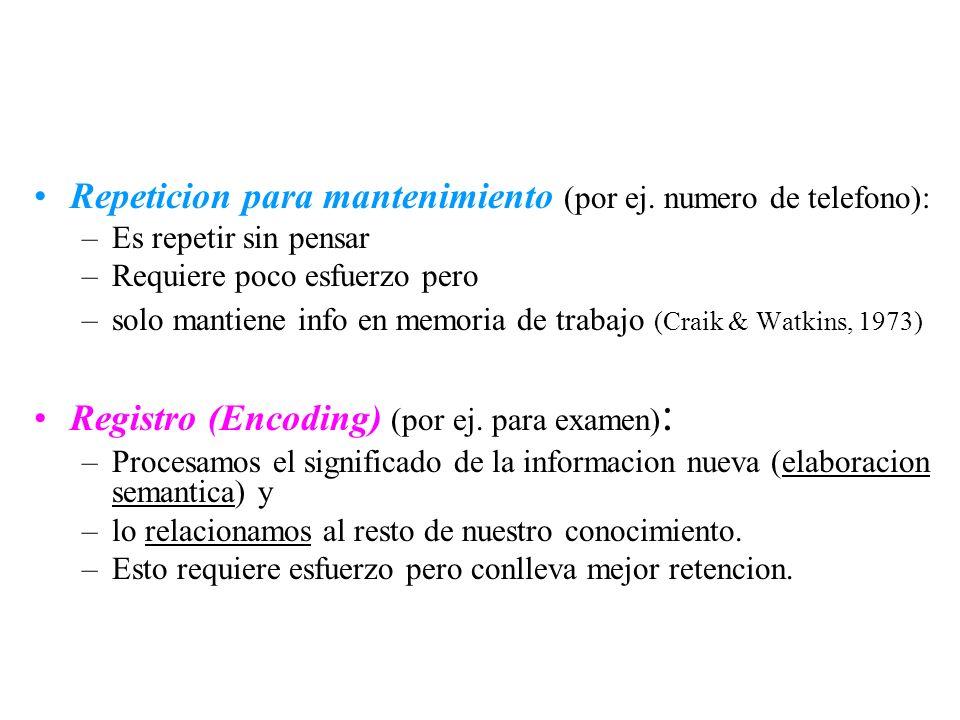 Repeticion para mantenimiento (por ej. numero de telefono): –Es repetir sin pensar –Requiere poco esfuerzo pero –solo mantiene info en memoria de trab