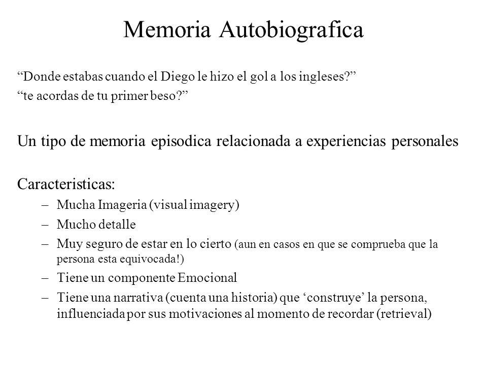 Memoria Autobiografica Donde estabas cuando el Diego le hizo el gol a los ingleses? te acordas de tu primer beso? Un tipo de memoria episodica relacio