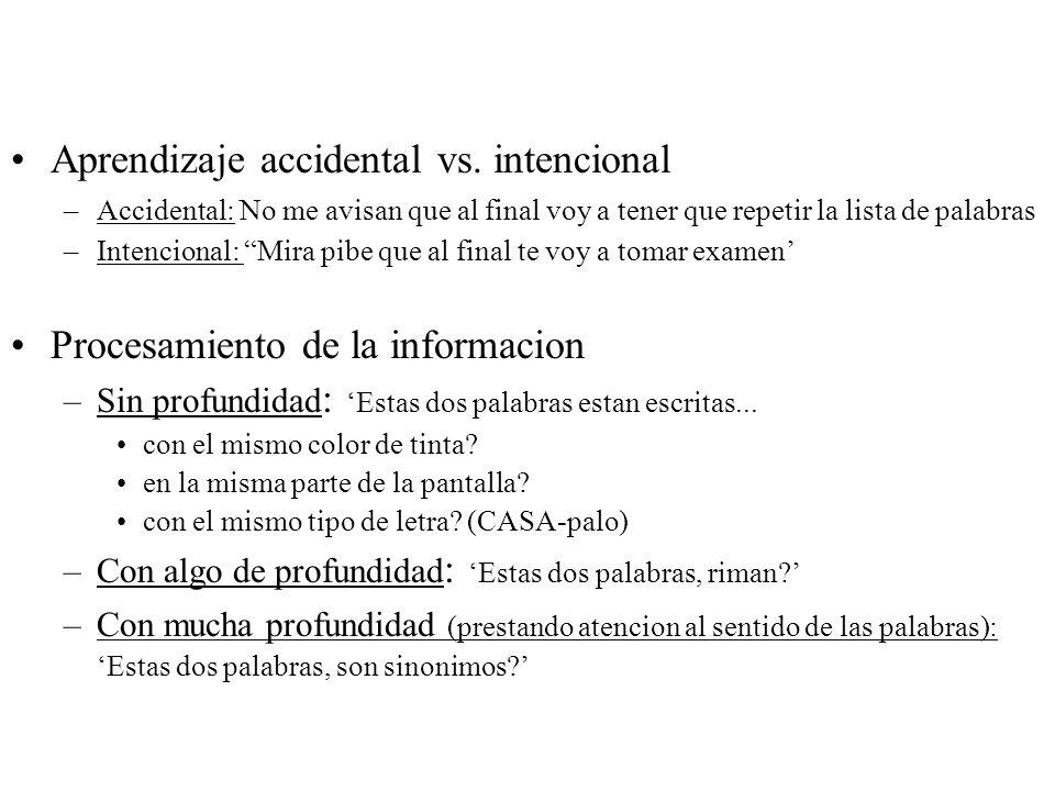 Aprendizaje accidental vs. intencional –Accidental: No me avisan que al final voy a tener que repetir la lista de palabras –Intencional: Mira pibe que