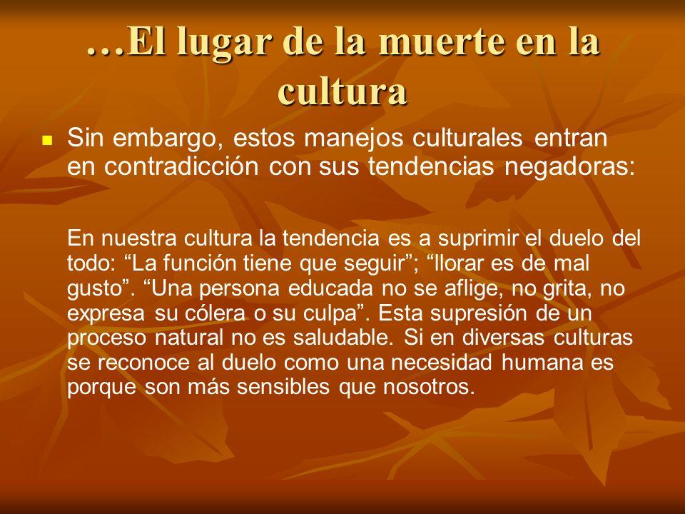 …El lugar de la muerte en la cultura Sin embargo, estos manejos culturales entran en contradicción con sus tendencias negadoras: En nuestra cultura la tendencia es a suprimir el duelo del todo: La función tiene que seguir; llorar es de mal gusto.
