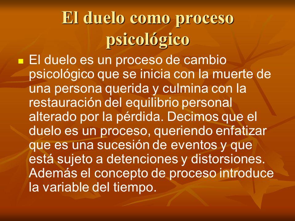 El duelo como proceso psicológico El duelo es un proceso de cambio psicológico que se inicia con la muerte de una persona querida y culmina con la res