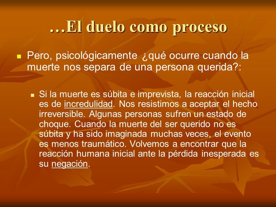 …El duelo como proceso Pero, psicológicamente ¿qué ocurre cuando la muerte nos separa de una persona querida?: Si la muerte es súbita e imprevista, la