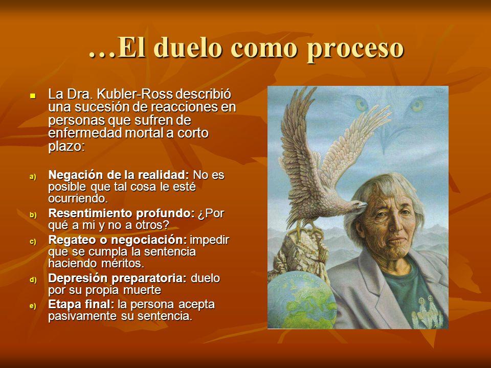 …El duelo como proceso La Dra. Kubler-Ross describió una sucesión de reacciones en personas que sufren de enfermedad mortal a corto plazo: La Dra. Kub