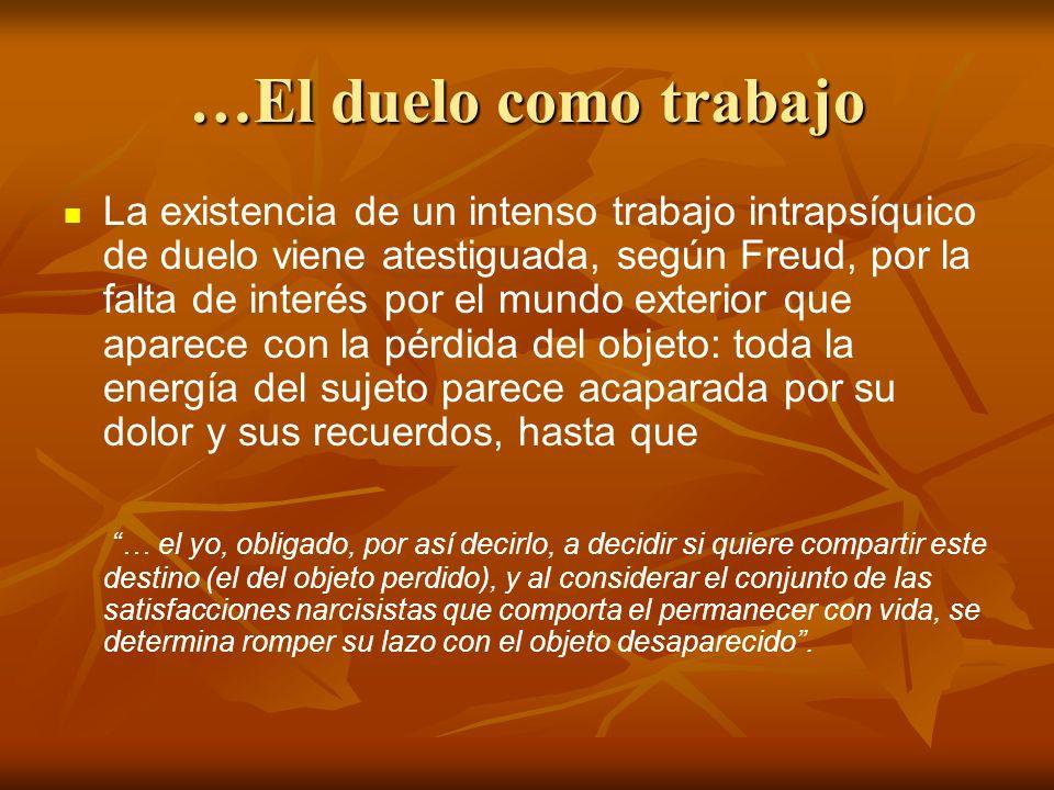 …El duelo como trabajo La existencia de un intenso trabajo intrapsíquico de duelo viene atestiguada, según Freud, por la falta de interés por el mundo