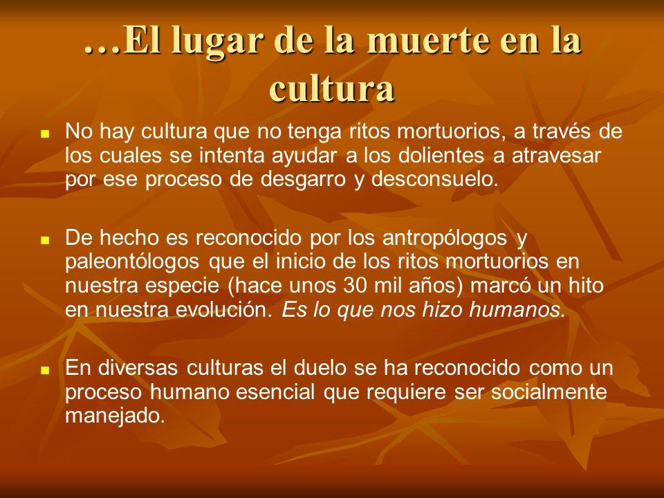 …El lugar de la muerte en la cultura No hay cultura que no tenga ritos mortuorios, a través de los cuales se intenta ayudar a los dolientes a atravesa