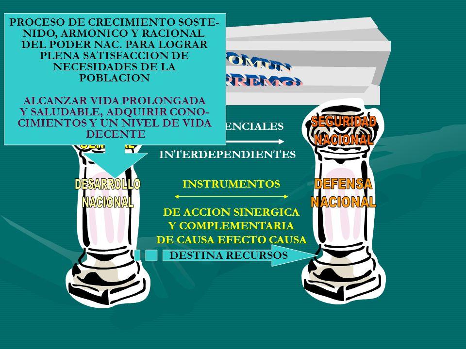 FINES ESENCIALES INTERDEPENDIENTES INSTRUMENTOS DE ACCION SINERGICA Y COMPLEMENTARIA DE CAUSA EFECTO CAUSA DESTINA RECURSOS PROCESO DE CRECIMIENTO SOS