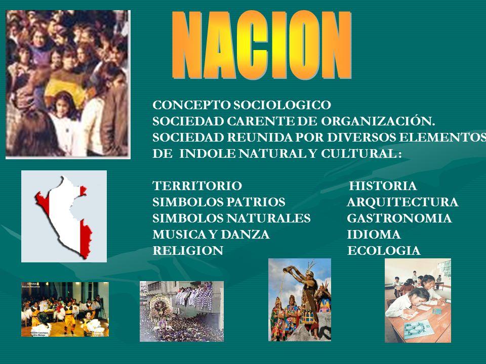 CONCEPTO SOCIOLOGICO SOCIEDAD CARENTE DE ORGANIZACIÓN. SOCIEDAD REUNIDA POR DIVERSOS ELEMENTOS DE INDOLE NATURAL Y CULTURAL : TERRITORIO HISTORIA SIMB