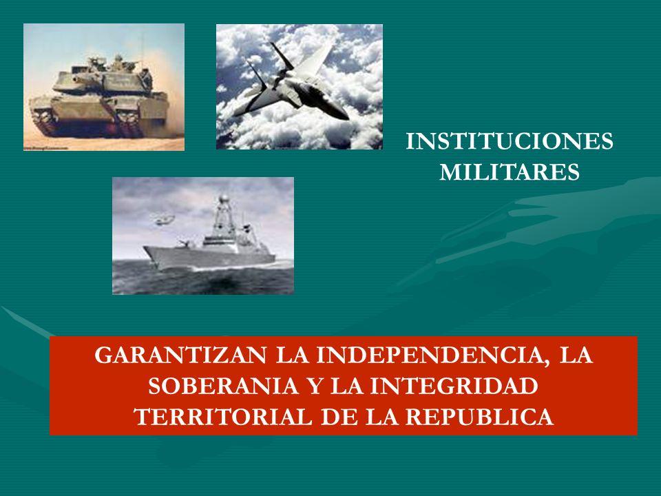 INSTITUCIONES MILITARES GARANTIZAN LA INDEPENDENCIA, LA SOBERANIA Y LA INTEGRIDAD TERRITORIAL DE LA REPUBLICA