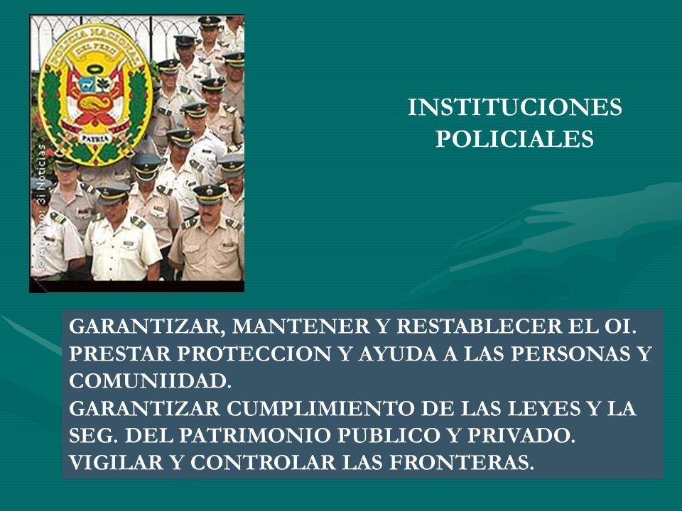 INSTITUCIONES POLICIALES GARANTIZAR, MANTENER Y RESTABLECER EL OI. PRESTAR PROTECCION Y AYUDA A LAS PERSONAS Y COMUNIIDAD. GARANTIZAR CUMPLIMIENTO DE
