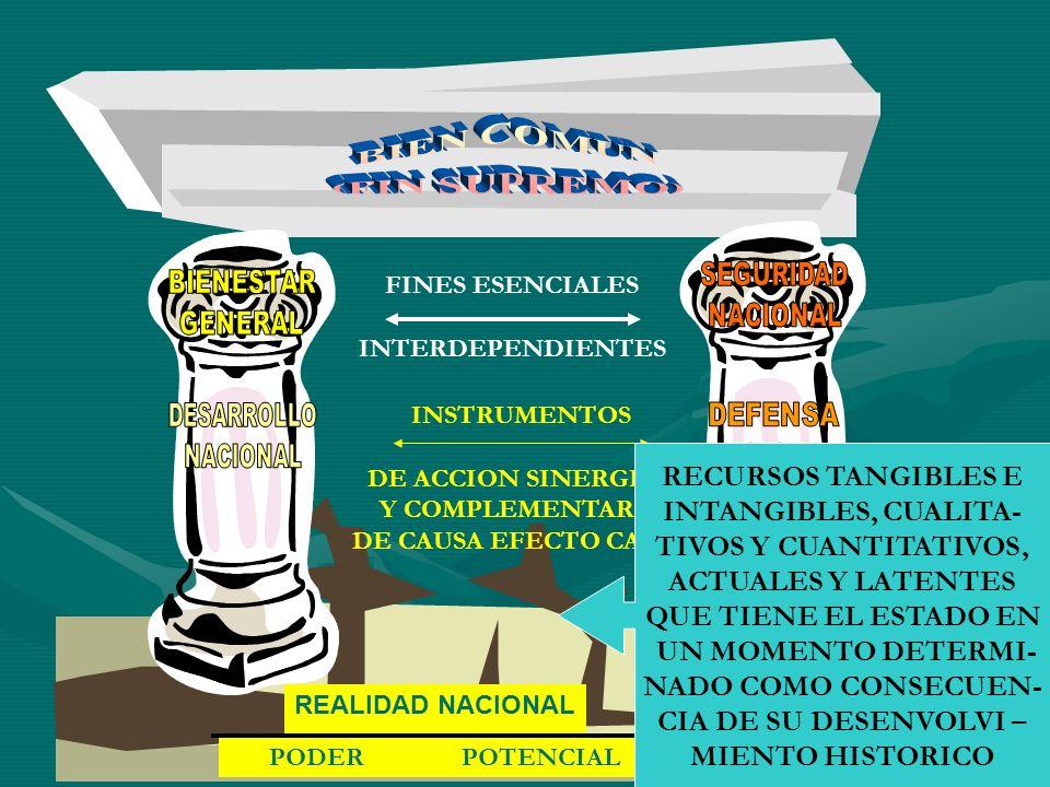 REALIDAD NACIONAL PODER POTENCIAL FINES ESENCIALES INTERDEPENDIENTES INSTRUMENTOS DE ACCION SINERGICA Y COMPLEMENTARIA DE CAUSA EFECTO CAUSA RECURSOS