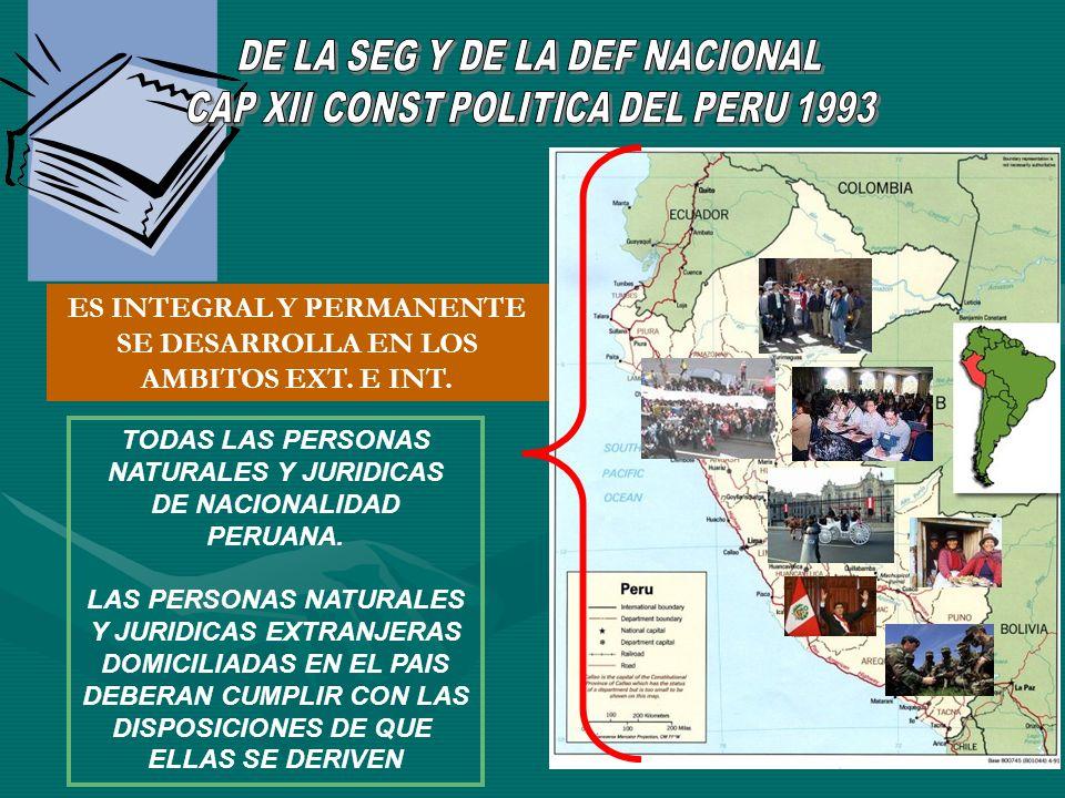 ES INTEGRAL Y PERMANENTE SE DESARROLLA EN LOS AMBITOS EXT. E INT. TODAS LAS PERSONAS NATURALES Y JURIDICAS DE NACIONALIDAD PERUANA. LAS PERSONAS NATUR