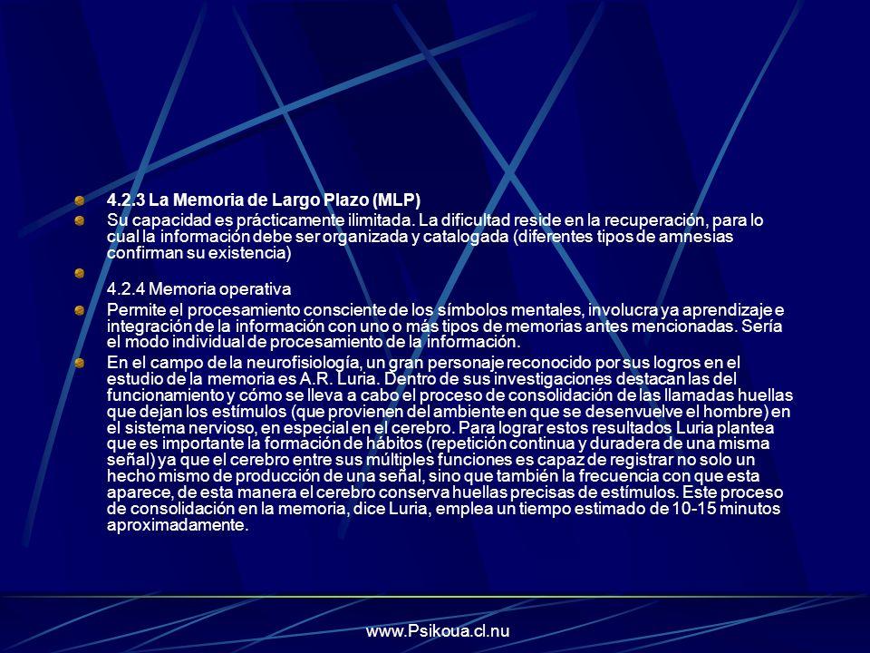 www.Psikoua.cl.nu 4.2.3 La Memoria de Largo Plazo (MLP) Su capacidad es prácticamente ilimitada. La dificultad reside en la recuperación, para lo cual