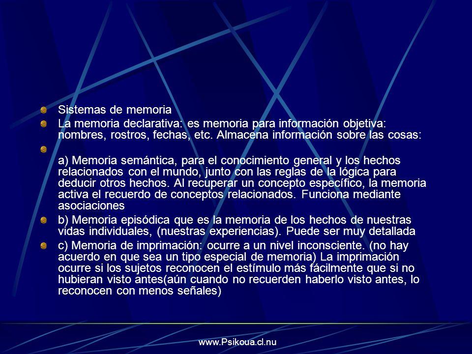 www.Psikoua.cl.nu Sistemas de memoria La memoria declarativa: es memoria para información objetiva: nombres, rostros, fechas, etc. Almacena informació