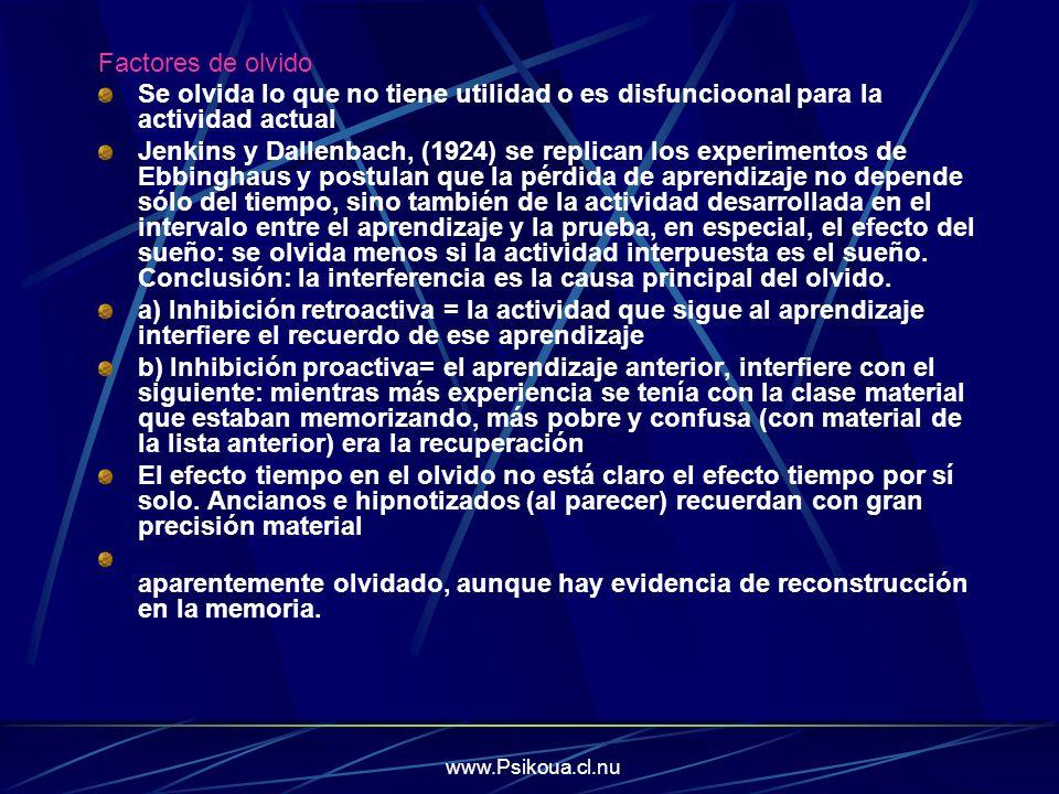 www.Psikoua.cl.nu Factores de olvido Se olvida lo que no tiene utilidad o es disfuncioonal para la actividad actual Jenkins y Dallenbach, (1924) se re