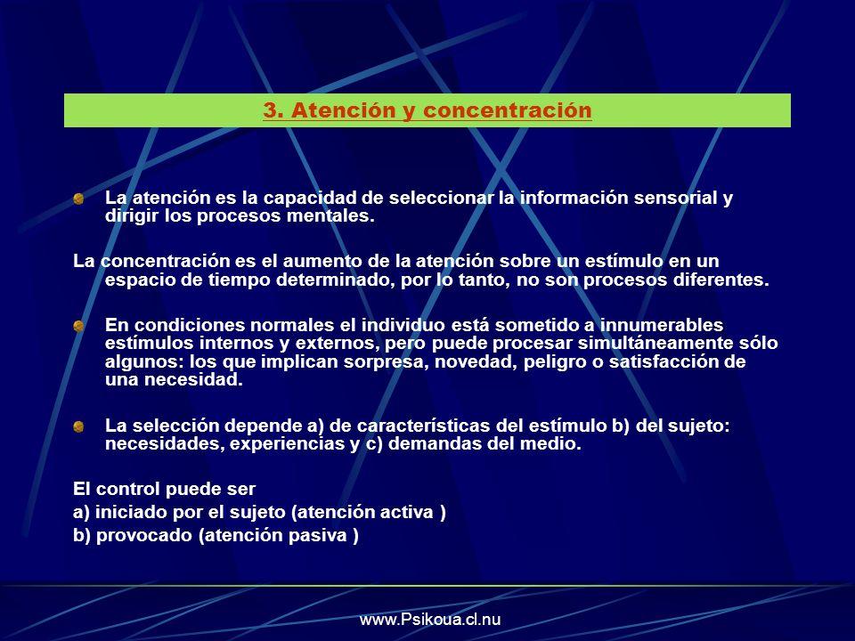 La atención es la capacidad de seleccionar la información sensorial y dirigir los procesos mentales. La concentración es el aumento de la atención sob