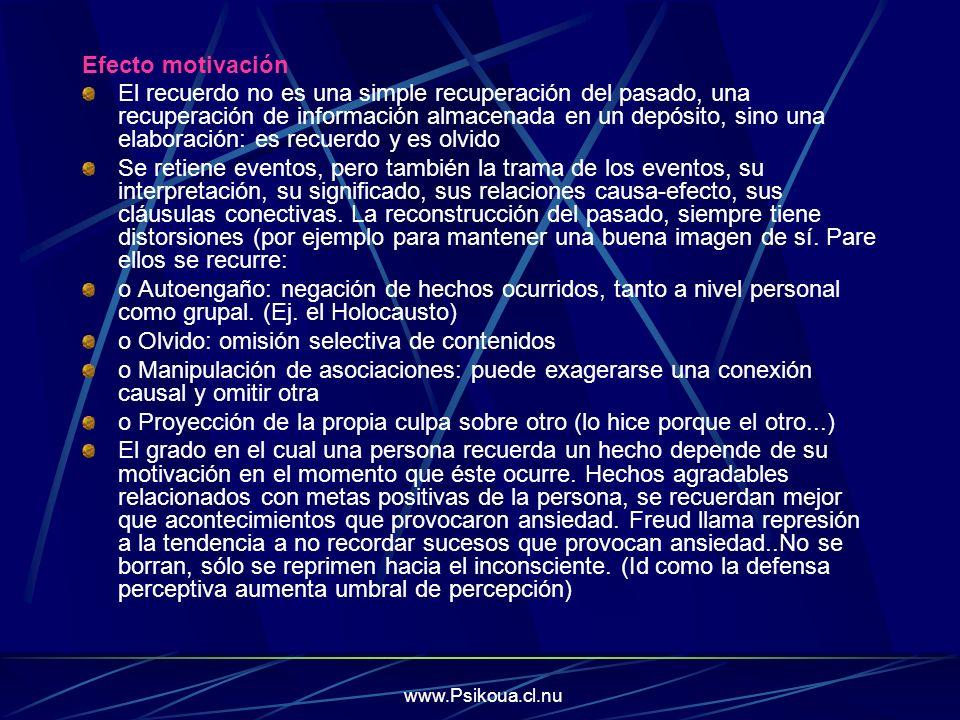 www.Psikoua.cl.nu Efecto motivación El recuerdo no es una simple recuperación del pasado, una recuperación de información almacenada en un depósito, s