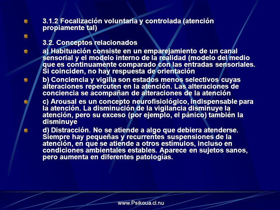 www.Psikoua.cl.nu 3.1.2 Focalización voluntaria y controlada (atención propiamente tal) 3.2. Conceptos relacionados a) Habituación consiste en un empa