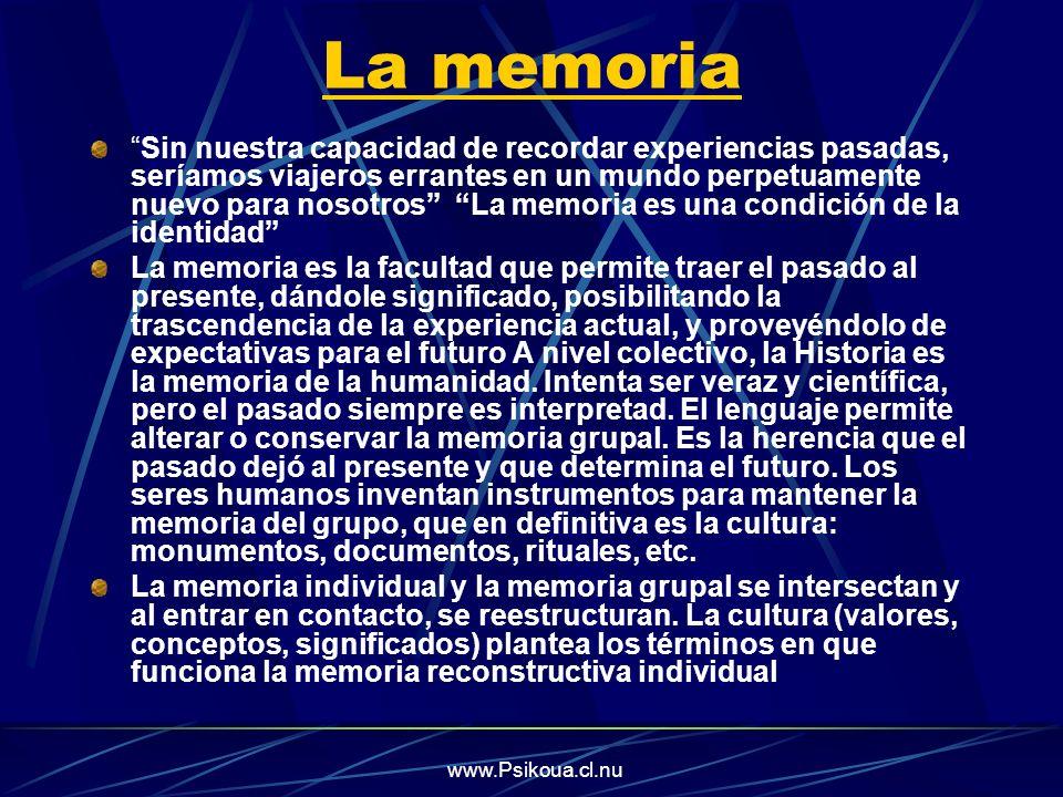 www.Psikoua.cl.nu La memoria Sin nuestra capacidad de recordar experiencias pasadas, seríamos viajeros errantes en un mundo perpetuamente nuevo para n