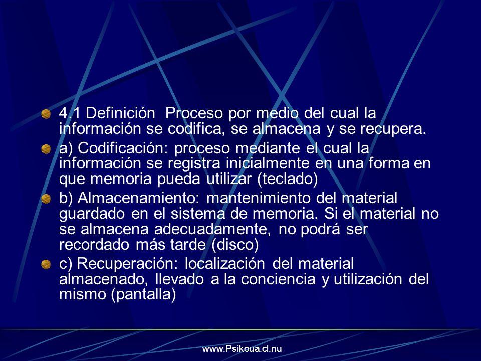 www.Psikoua.cl.nu 4.1 Definición Proceso por medio del cual la información se codifica, se almacena y se recupera. a) Codificación: proceso mediante e
