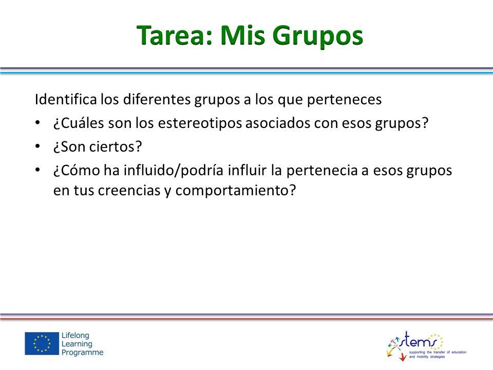 Identifica los diferentes grupos a los que perteneces ¿Cuáles son los estereotipos asociados con esos grupos? ¿Son ciertos? ¿Cómo ha influido/podría i