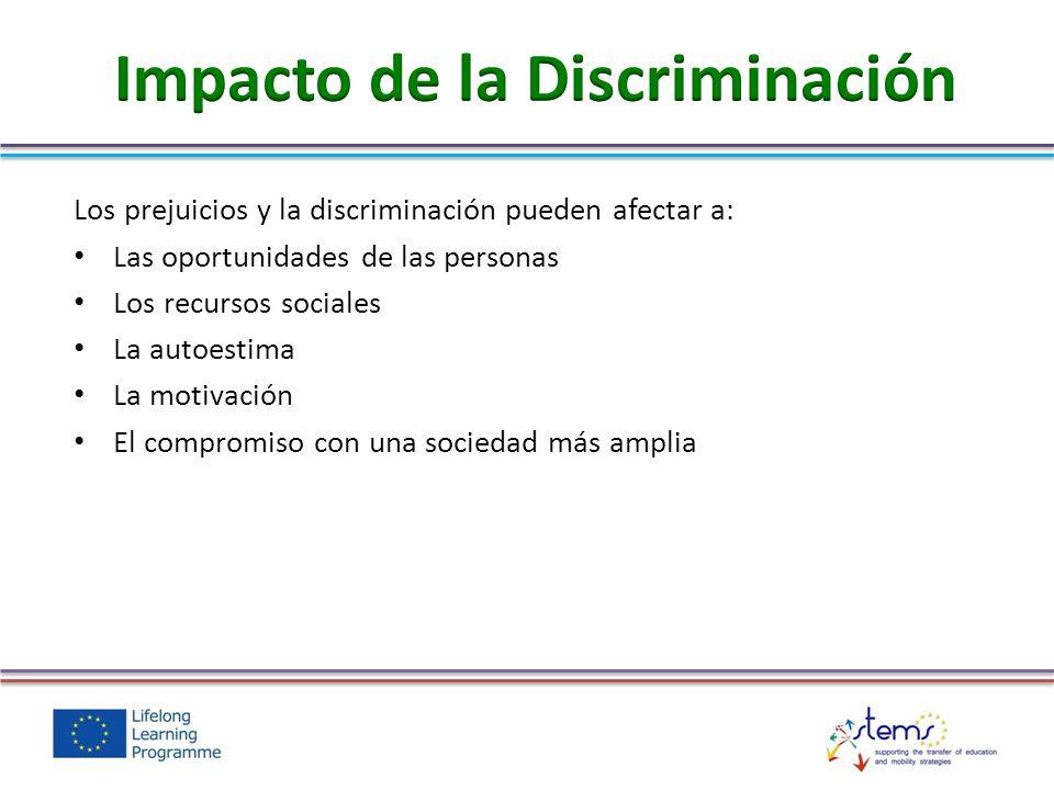 Los prejuicios y la discriminación pueden afectar a: Las oportunidades de las personas Los recursos sociales La autoestima La motivación El compromiso