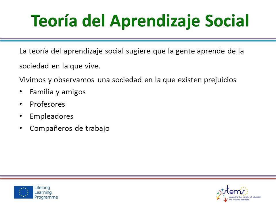 La teoría del aprendizaje social sugiere que la gente aprende de la sociedad en la que vive. Vivimos y observamos una sociedad en la que existen preju