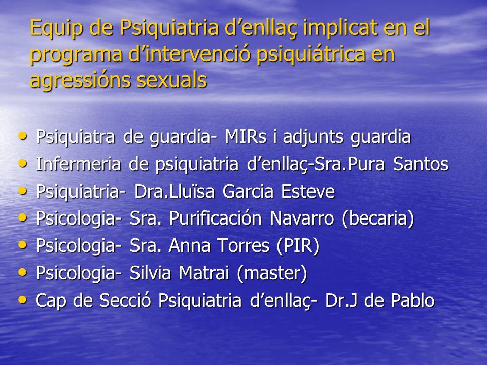 Equip de Psiquiatria denllaç implicat en el programa dintervenció psiquiátrica en agressións sexuals Psiquiatra de guardia- MIRs i adjunts guardia Psi